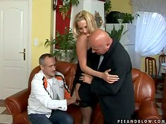 European Blonde Babe Takes Two Old Codgers At The Same Time
