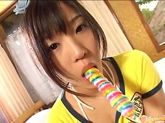 Lollipop loving Asian teen does it real sexy!