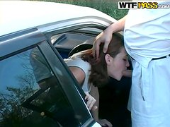 Dirty Doll Gives A Deep Blowjob To Her Man In His Car