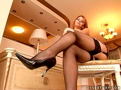 Redhead Babe in Sexy Lingerie Masturbates with Cock-Shaped Toy