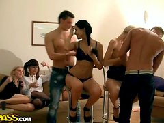 Horny Whores Celebrate Finishing Their Exams By Having An Orgy