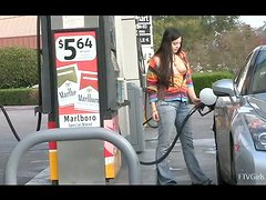 Nadine shows her boobs at the gas station and at the playground