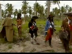 Hot Pirates Having a Foursome on a Desert Island in the Caribbean