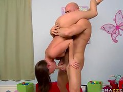 Bald Dude Takes Care Of Teen Tight Holes