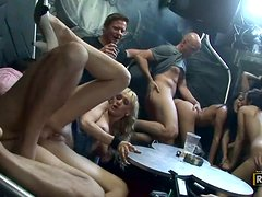 Crazy Shagging Party With Chicks All Over The Place Taking Dick
