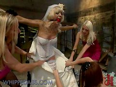 Blonde In Bride Dress Controlled By Two Crazy Hotties