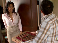 Sienna West Enjoys A Big Sausage Pizza