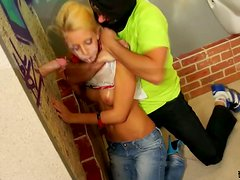 Blonde Babe Taking Cream From A Gloryhole & Getting Pussy Pounded