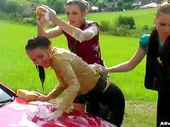 Crazy Chicks Washing A Car & Each Other