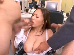 Busty Office Worker Ruri Saijo Gives Double Blowjob And Hard Tit Fuck