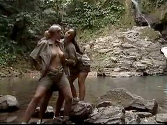 Great FFM Threesome with Jane Darling and Laura Lion in the Jungle