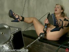 Young Slut Has Her Shaved Snatch Slammed By Fucking Machine