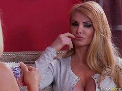 Mommy Sandwich with Busty Blonde MILFs Devon Lee and Taylor Wane