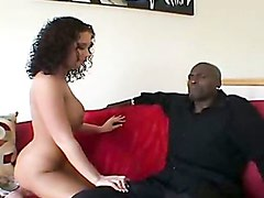 Busty Jayden James sucking on a big black monster cock