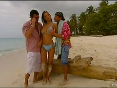 Horny Babe Takes Two Guys To The Beach For an MMF Threesome