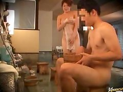 Japanese Lady Gets In a Men's Spa and Bathes a Dude