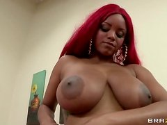 Busty Redhead Ebony Lavish Styles Loving The Interracial Fuck