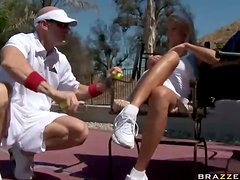Tantalizing Tennis Tart Has Her Twat Thrashed On Court