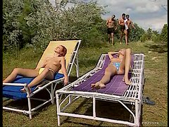 Three Cocks Give a Bukkake To a Sunbathing Blonde after DP