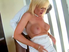 MILF Sindi Star Gets Cum On Her Big Tits From a Black Cock