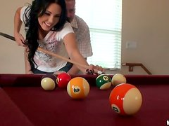 Big Ass Brunette Girlfriend Gets Fucked Over a Pool Table