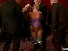 Kinky blonde girl gets tied up and then fucked rough