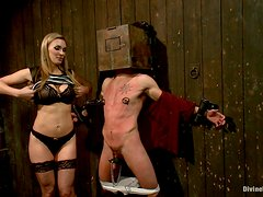 Bdsm and humiliation for helpless dude