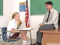 Blonde Hottie Enjoying  From a Teacher's Fuck
