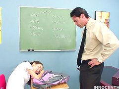 Horny Teen Moaning in the Classroom