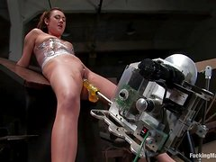 Horny Brunette Fucks A Machine And Works Up A Sweat