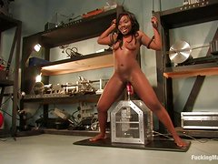 Ebony Hottie Cums Over And Over On A Machine
