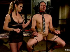 Rough Strapon Sex For A Slave From His Mistress