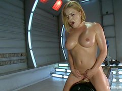 Gorgeous Blondes Sweats Off Her Desires Fucking With Machines
