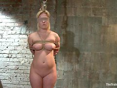 Strapon Fucking For A Busty Blonde In A Bondage Clip
