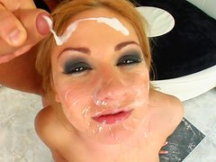 A Creamy Facial For A Blonde Whore After A Gangbang