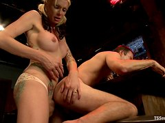 Strip Poker with Blond Tranny Ends with Ass Fucking for Cowboy