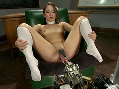 Cute schoolgirl stays after class for sex machine lesson