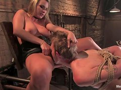 Hot Bondage For A Busty Blonde With A Big Strapon