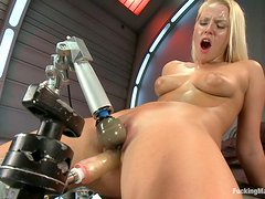 Blonde slut gets love from a machine