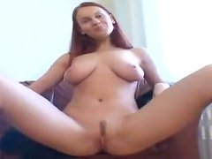 Busty Brunette Plays With Herself In An Interview