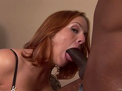 Big Black Cock Fucking a White MILF's Shaved Pussy