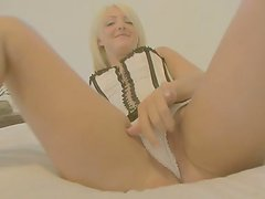 Banging Blonde Lacey Maguire in Corset on the Couch in POV Homemade Vid
