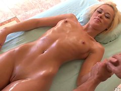 Hot Skinny Blonde Teen Rebecca Blue Gets a Facial after Doggystyle Sex