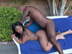 Ebony Light Skinned Is Fucked By A Big Cock