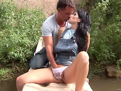 Sexy Brunette's Fucked In Public By A Big Cock