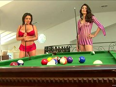 Real Lesbian Fun With Three Babes On A Pool Table