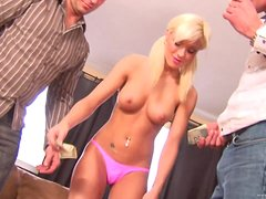 A Hot Threesome With A Slutty Blonde Teen