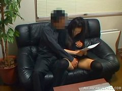 Sexy Japanese girl in stockings gets nailed at the interview