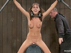 Alicia Stone gets her pussy drilled with a toy in BDSM scene