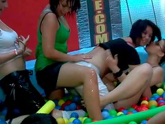Spoiled sex hungry chics get fucked in group sex video